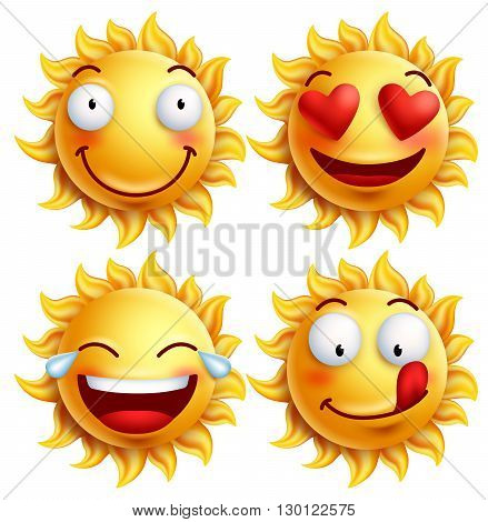 Sun face with funny facial expressions for summer. Set of glossy 3D realistic vector illustration isolated in white background