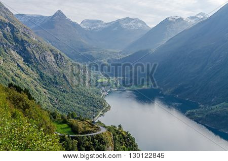 Sunlit Norway landscape at the fall time