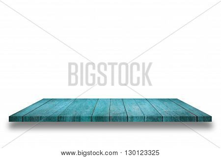 Top of blue wooden shelf isolated on white background. For product display