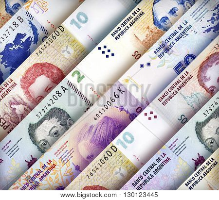 Argentinean Peso bills creating a colorful background