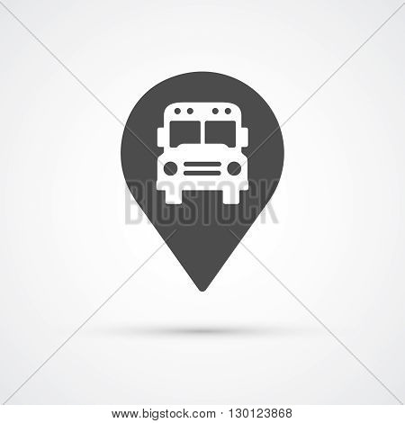 Bus marker pin icon for map.  Vector illustration
