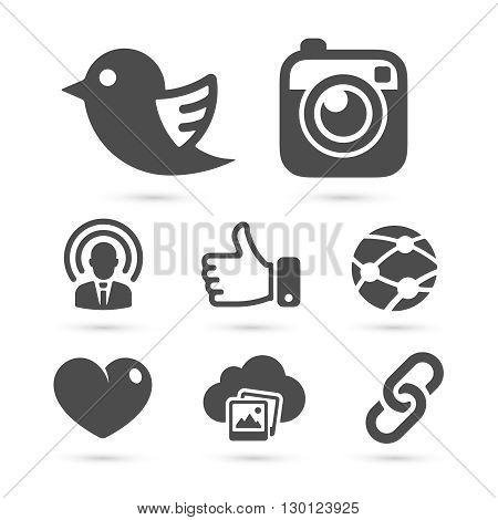 Social network icons isolated on white. Vector illustration