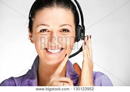 Portrait of a beautiful woman wearing an headset
