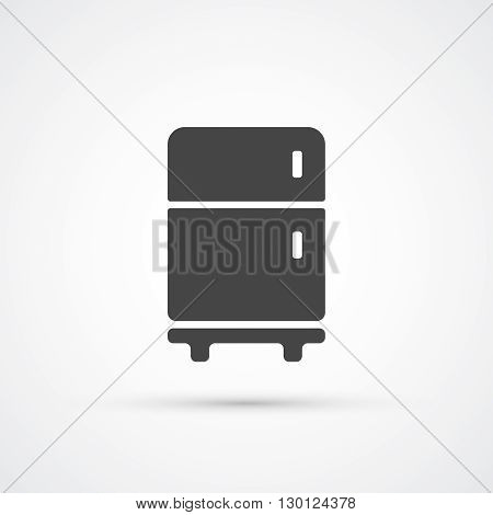 Fridge trendy flat black icon. Vector illustration