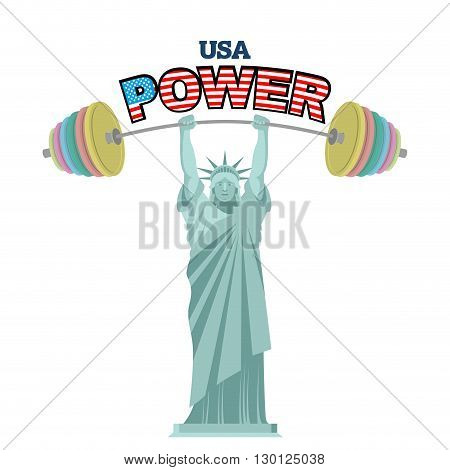 Usa Power. Powerful  Statue Of Liberty Barbell Bench Press. Athletic Symbol Of America. Fitness Monu