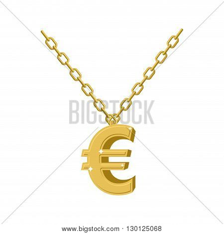 Gold Euro Sign On Chain. Decoration For Rap Artists. Accessory Of Precious Yellow Metal To Hip Hop M