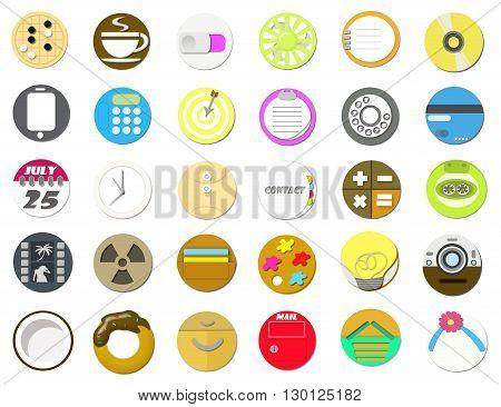 Supplies flat icon set in circle shape