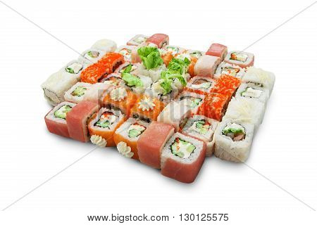 Japanese food restaurant, sushi maki gunkan rainbow roll plate or platter set. California Sushi rolls with salmon. Sushi isolated at white background.