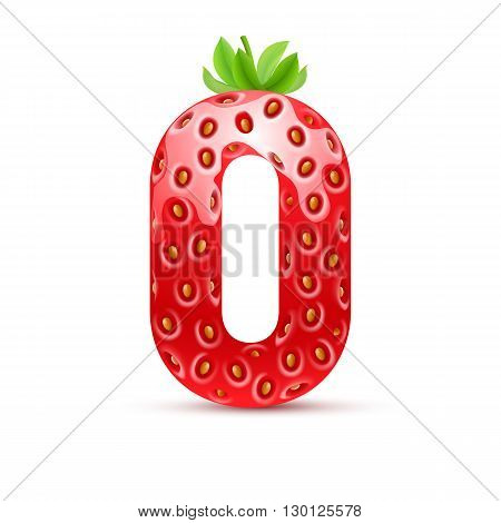 Zero number in strawberry style with green leaves