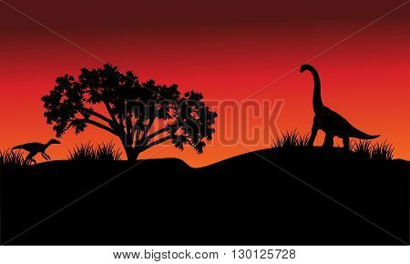 At morning silhouette eoraptor and brachiosaurus with red backgrounds