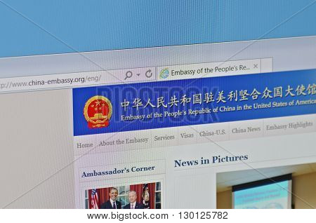 Saransk, Russia - May 15, 2016: A computer screen shows details of Embassy of People's Republic of China in the U.S. main page on its web sites in Saransk, Russia, on May 15, 2016. Selective focus.