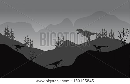 Silhouette of eotaptor and T-Rex with gray backgrounds