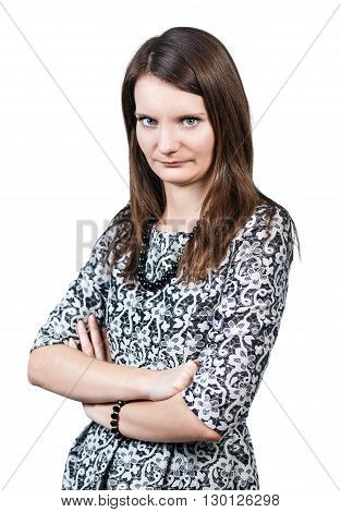 Attractive displeased woman looking strictly isolated on white background