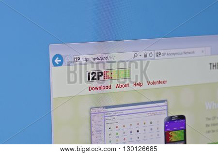 Saransk, Russia - May 17, 2016: A computer screen shows details of i2p main page on its web site