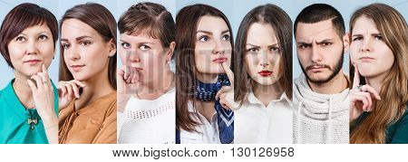 Collage of thoughtful people on the blue background
