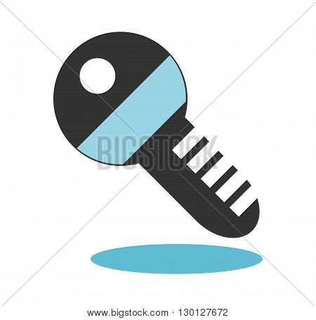 Key icon with drop shadow isolated on white background
