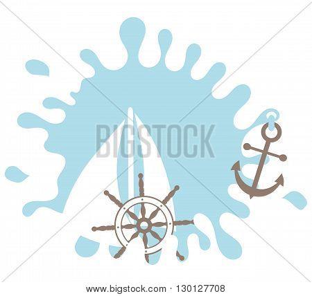 Nautical design element. Rudder. Splash. Anchor. Design element. Isolated on white
