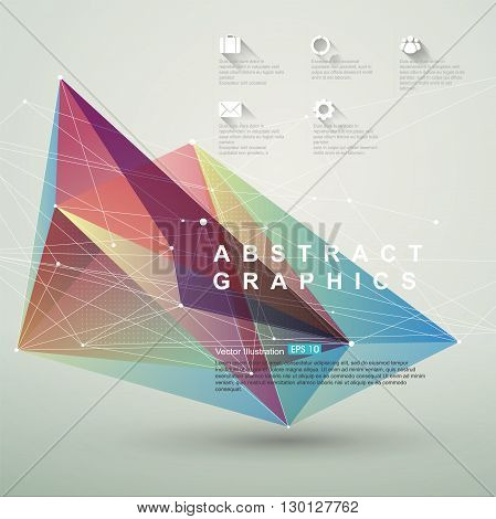 Point line surface composition of abstract graphics,infographics,Vector illustration.