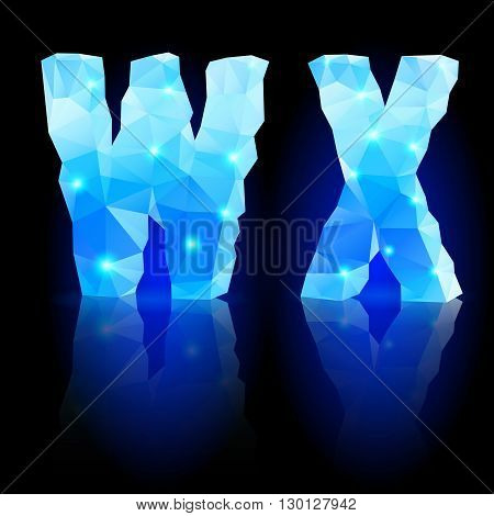 Shiny blue polygonal font. Crystal style W and X letters with reflection on black backround