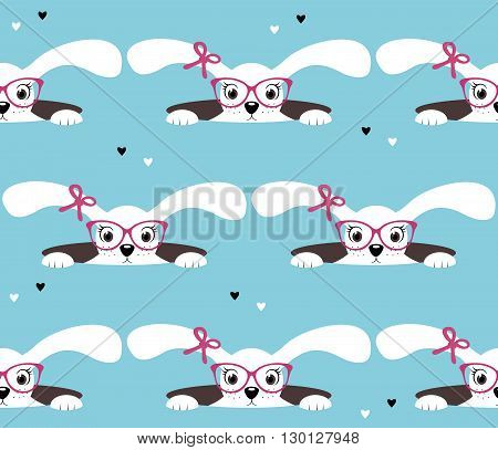 Seamless pattern of bunny girl. Retro background. Tileable wallpaper