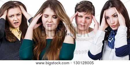 Several women with a headache isolated on white background