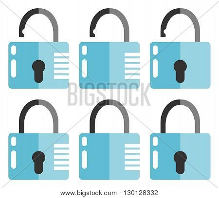 Set of closed and opened locks. Flat design. Isolated on white background