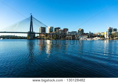 ANZAC bridge and CBD view of Sydney as viewed from Blackwattle bay. Office commercial and residential skyscraper buildings