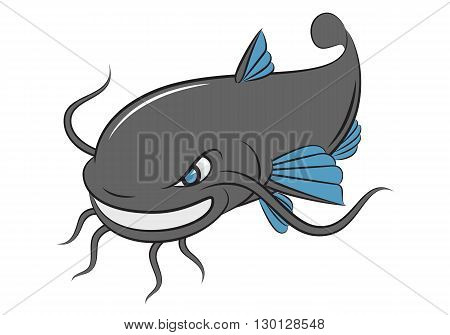 cartoon catfish smile on white background, EPS 10