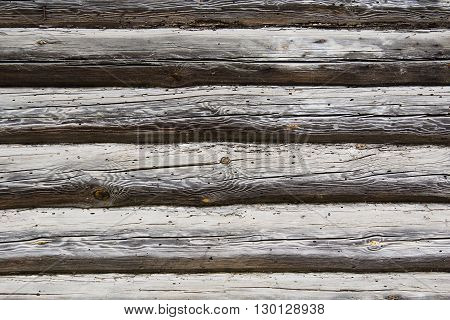 Background from a wall from old logs with cracks and damages from insects