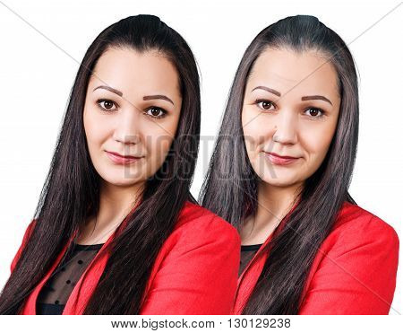 Woman's portrait 20, 60 years old isolated on white. Aging concept
