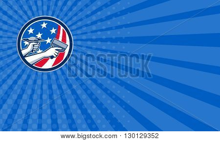 Business card showing illustration of a plasterer hand repair drywall with putty knife and holding a hawk with plaster set inside circle with American USA stars and stripes flag done in retro style. .