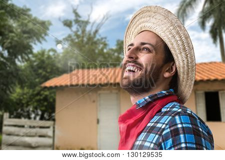 Brazilian man wearing junina costume (Festa Junina)