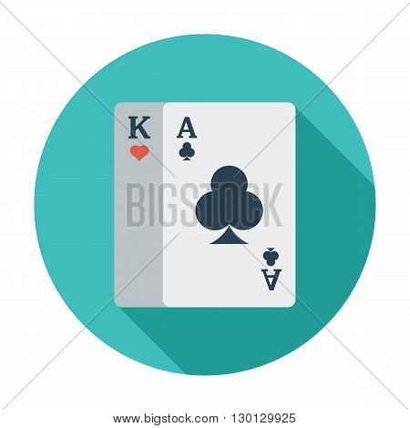 Play card icon. Flat vector related icon whit long shadow for web and mobile applications. It can be used as - logo, pictogram, icon, infographic element. Vector Illustration.