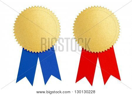 winner gold seal medal award with blue and red ribbon