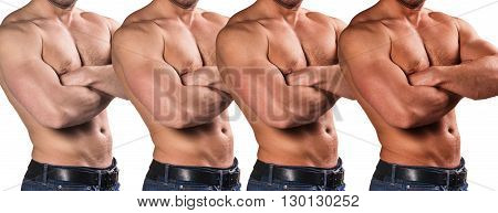 Handsome man with perfect body shows stage of tan