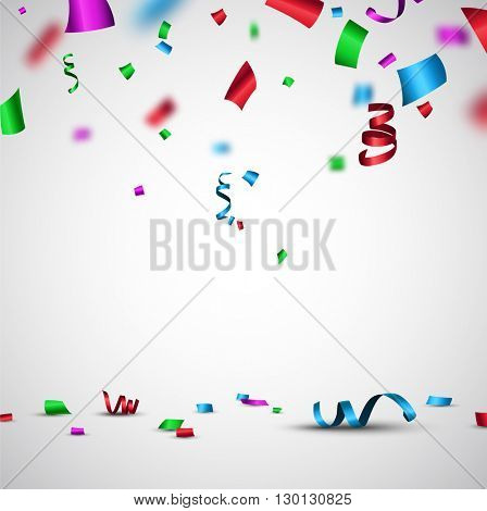 Festive background with color confetti and serpentine. Vector paper illustration.