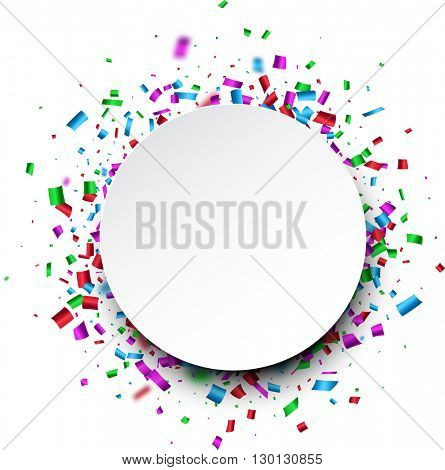 White round background with color confetti. Vector paper illustration.