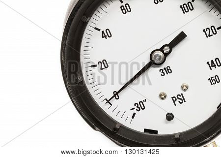 pressure gauge on white back ground, show zero
