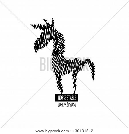Horse stable logotype on white background. Horse line logo. Black contour horse logotype. Scribble style horse. Scribble horse logo. Isolated horse silhouette.