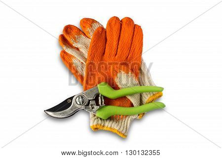 Pruning Shears and gloves on white background
