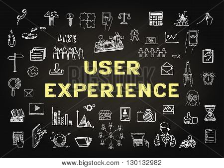 Hand drawn icons about USER EXPERIENCE on chalkboard - Stock vector