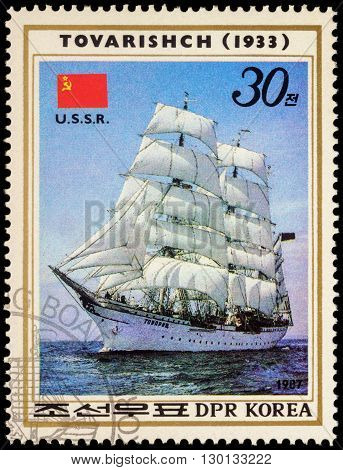 MOSCOW RUSSIA - MAY 17 2016: A stamp printed in DPRK (North Korea) shows image of Russian sail training barque