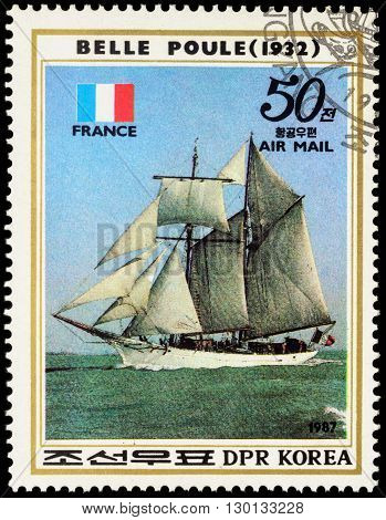 MOSCOW RUSSIA - MAY 17 2016: A stamp printed in DPRK (North Korea) shows image of French sail training ship