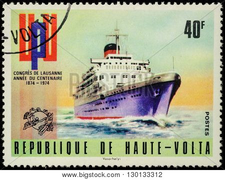 MOSCOW RUSSIA - MAY 17 2016: A stamp printed in Upper Volta (Burkina Faso) shows old cruise ship series