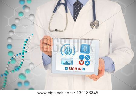 Doctor showing digital tablet on white background against dna helix in blue with chemical structures
