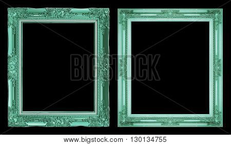 Collection 2 Antique Green Frame Isolated On Black Background, Clipping Path