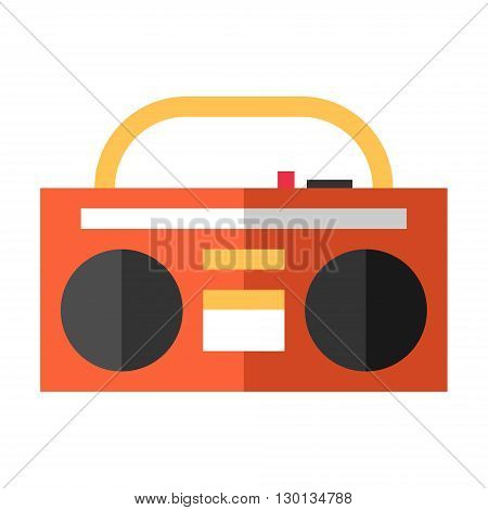 Vintage red tape recorder for audio cassettes. Music boombox. Music concept. Flat vector illustration