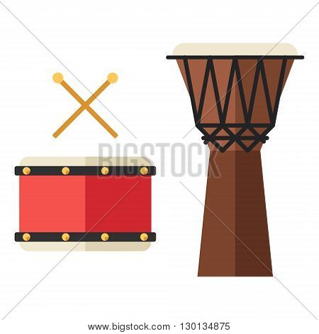 Drum and djembe african percussion handmade wooden drum. Flat style vector musical instruments isolated on white