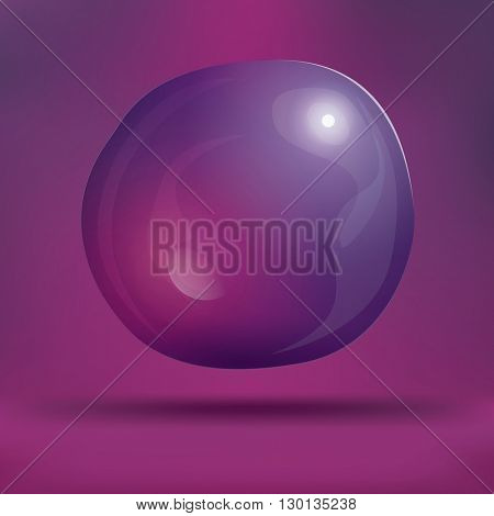 Transparent Soap Bubble on Purple Background. Vector Illustration. Water Bubble on Blur Background with Shadow and Copy Space