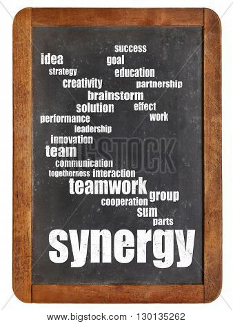 synergy word cloud - white chalk text on a vintage slate blackboard